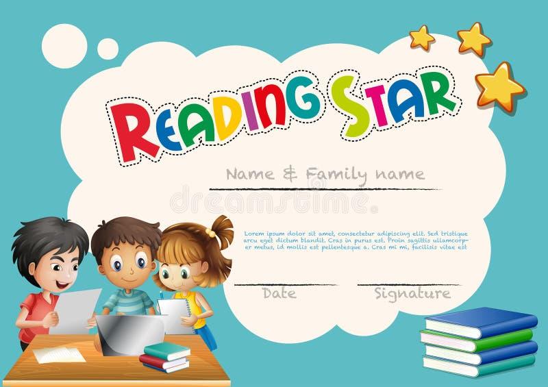 Шаблон награды звезды чтения с предпосылкой детей иллюстрация вектора