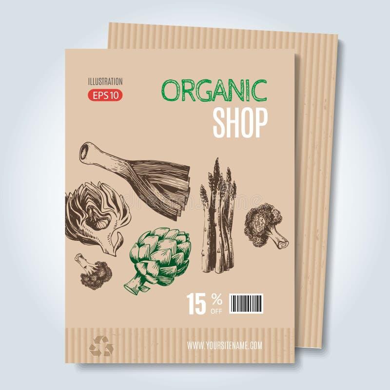 Шаблон нарисованный рукой для продажи в вегетарианском магазине иллюстрация штока