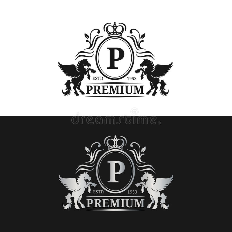 Шаблон логотипа вензеля вектора Роскошный дизайн письма Грациозно винтажный характер с иллюстрацией символов Пегаса иллюстрация вектора