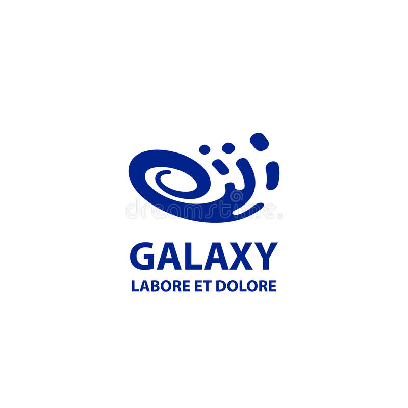 Шаблон логотипа галактики Плоский голубой абстрактный спиральный символ иллюстрация штока