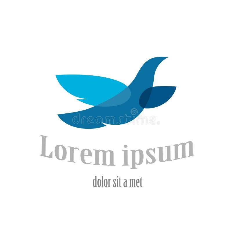 Шаблон логотипа летящей птицы Символ голубя сини иллюстрация вектора