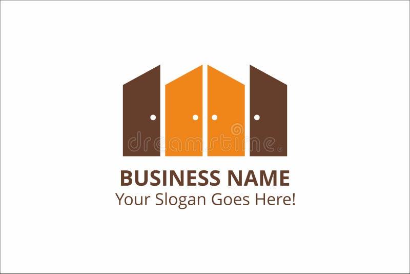 Шаблон логотипа дела дверей с лозунгом с цветами апельсина и шоколада стоковое изображение rf