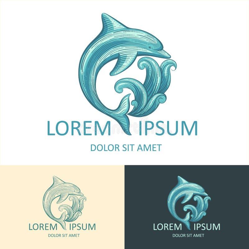 Шаблон логотипа дельфина иллюстрация вектора