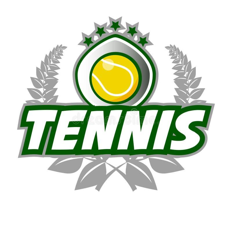 Шаблон логотипа значка тенниса с шариком и лавровым венком бесплатная иллюстрация