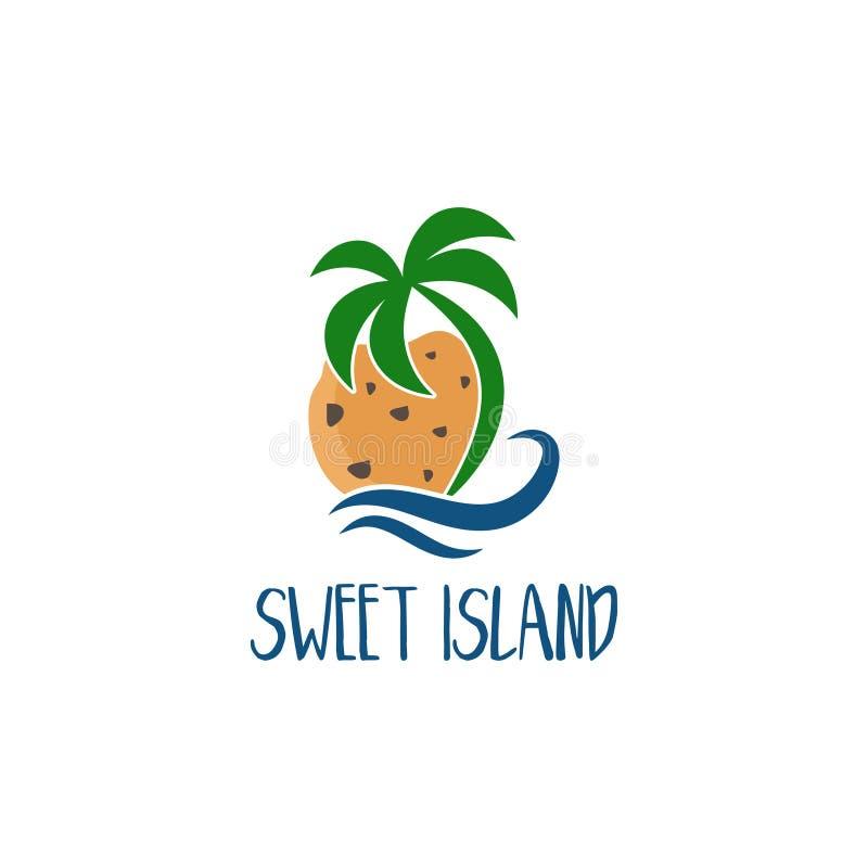 Шаблон логотипа концепции с handmade печеньем и пальмой бесплатная иллюстрация