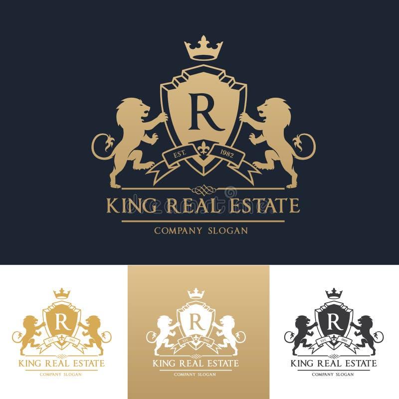 Шаблон логотипа недвижимости льва короля стоковая фотография rf