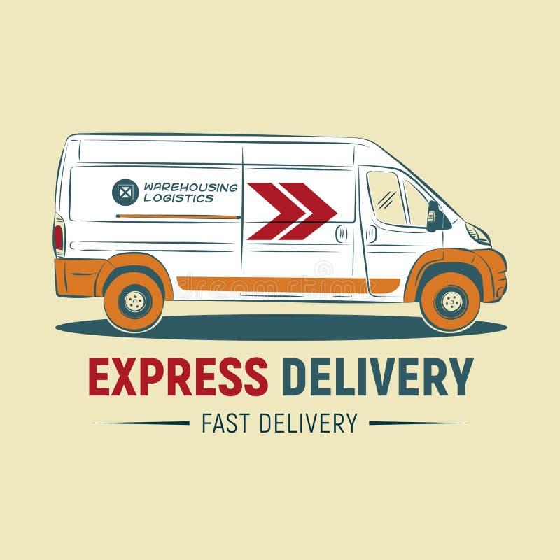 Шаблон логотипа обслуживания срочной поставки Логотип компании по доставке автомобиль голодает иллюстрация штока