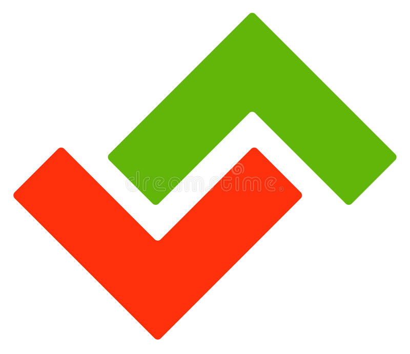 Шаблон логотипа с зелеными и красными стрелками вверх и вниз иллюстрация вектора