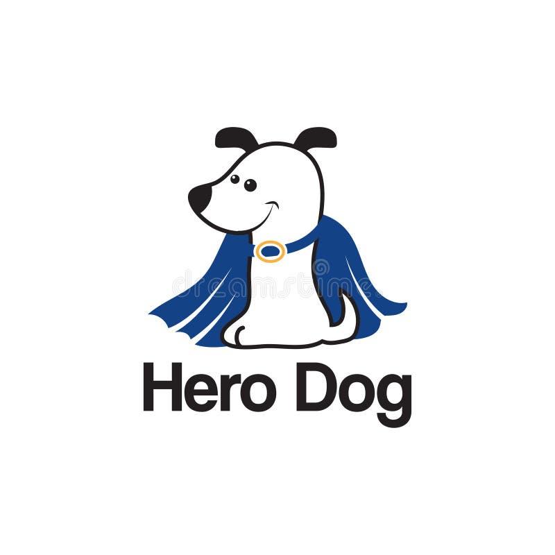Шаблон логотипа с собакой героя вектор иллюстрация штока