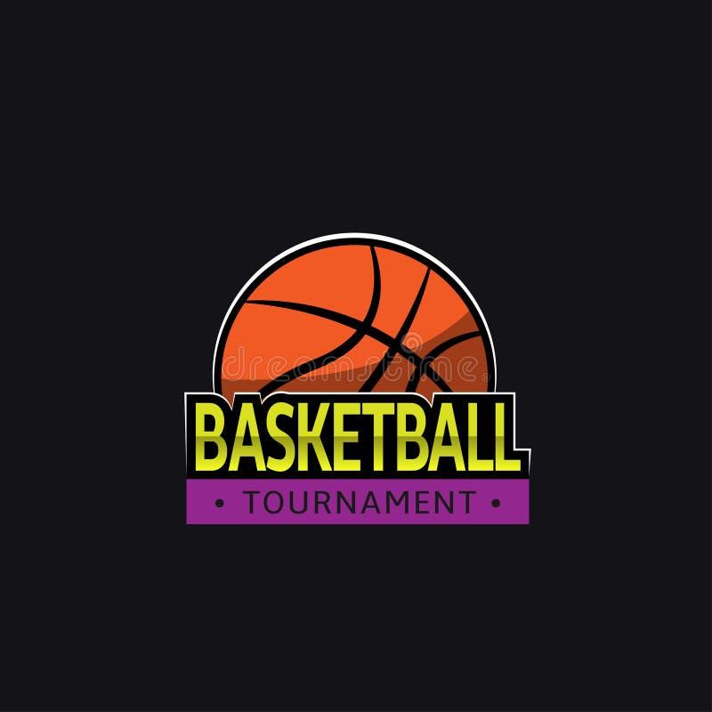 Шаблон логотипа турнира баскетбола иллюстрация вектора