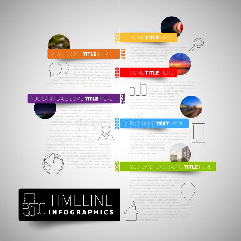 Шаблон отчете о временной последовательности по Infographic с значками, ярлыками и нерезкостью иллюстрация штока