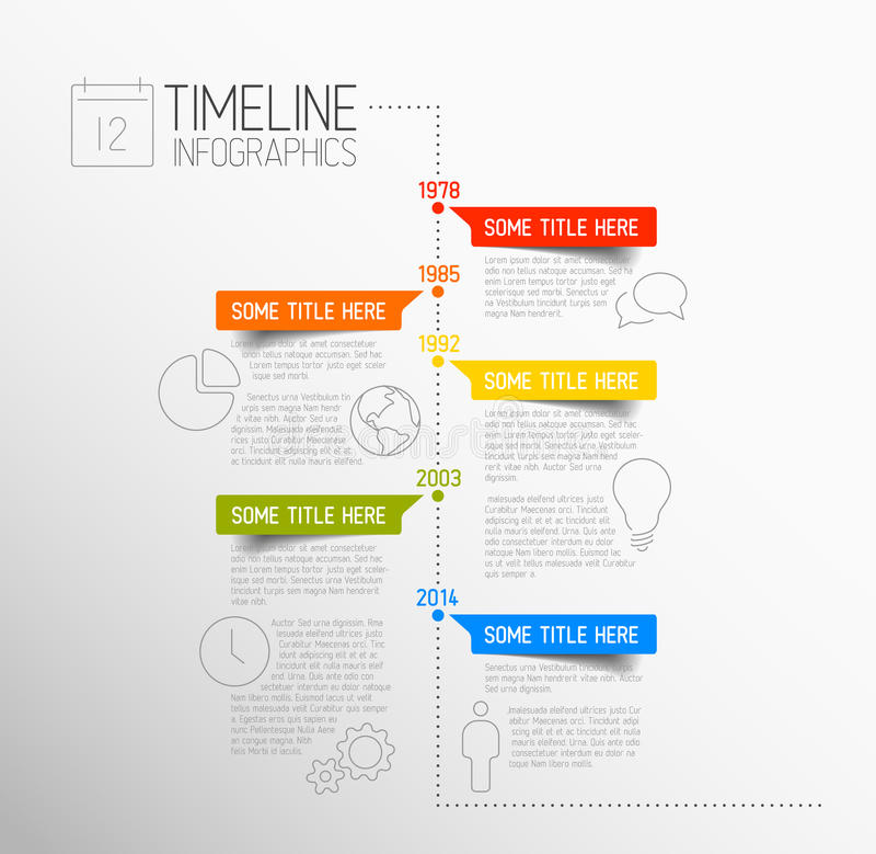 Шаблон отчете о временной последовательности по Infographic иллюстрация штока
