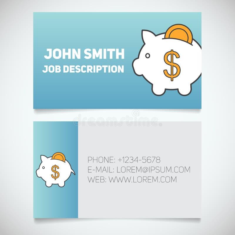 Шаблон печати визитной карточки с логотипом копилки бесплатная иллюстрация