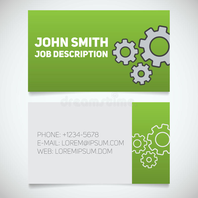 Шаблон печати визитной карточки с логотипом шестерней Mechanician часовщик Cogwheels машиниста иллюстрация штока