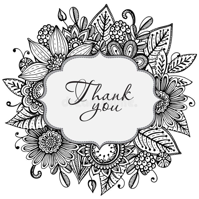Шаблон поздравительной открытки вектора с doodle нарисованным рукой иллюстрация штока