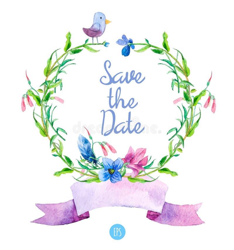 Шаблон поздравительной открытки с голубыми цветками лета вектор иллюстрация вектора
