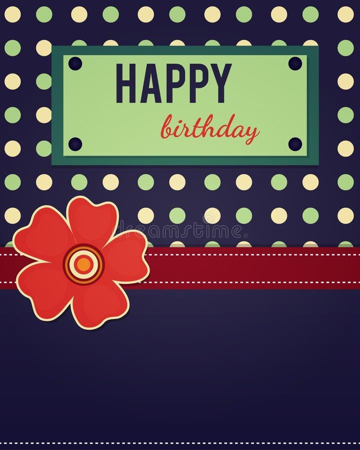 Шаблон поздравительой открытки ко дню рождения с днем рождений иллюстрация штока