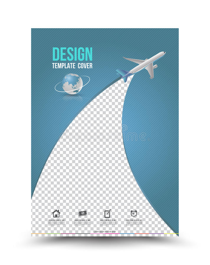 Шаблон постраничного макета обложки с бумажным самолетом иллюстрация штока