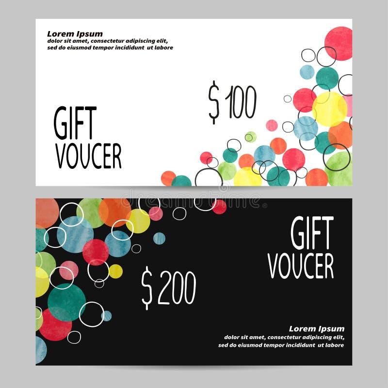 Шаблон подарочного сертификата с красочными пузырями иллюстрация штока