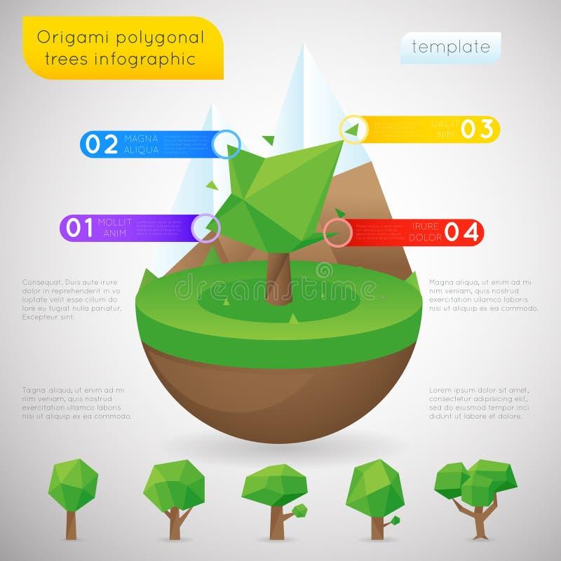 Шаблон полигональных деревьев Origami infographic иллюстрация штока