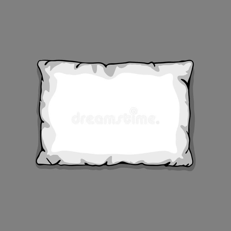 Шаблон подушки кровати изолированный на серой предпосылке Иллюстрация эскиза иллюстрация вектора