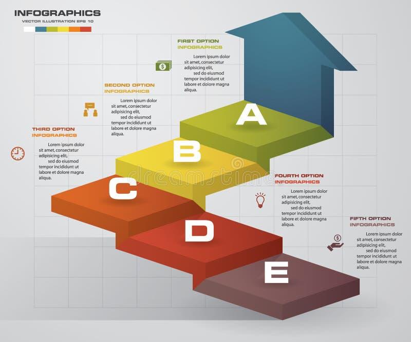 Шаблон представления дела шагов конспекта 5 Infographics лестницы 5 шагов с стрелкой иллюстрация штока