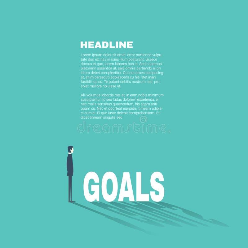 Шаблон представления целей бизнеса профессиональный с бизнесменом иллюстрация штока