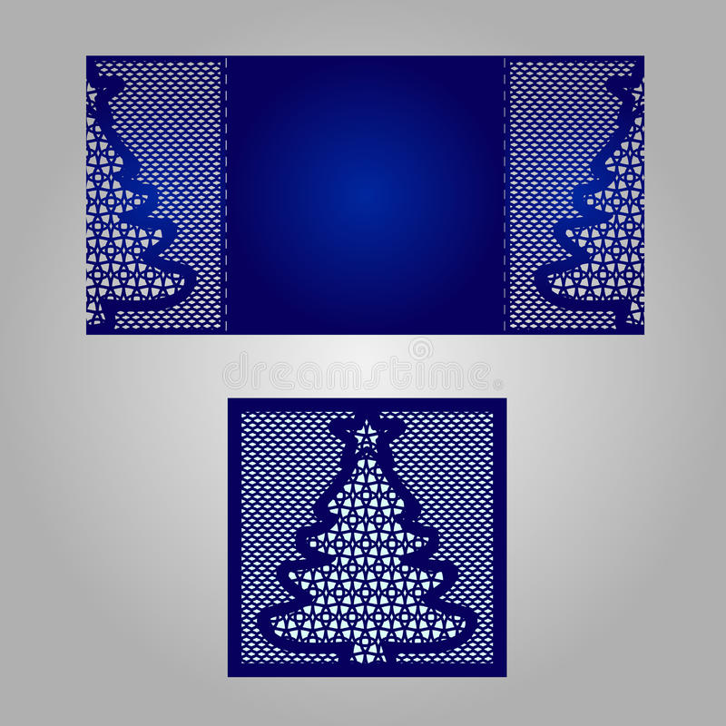 Шаблон приглашения свадьбы отрезка лазера иллюстрация штока