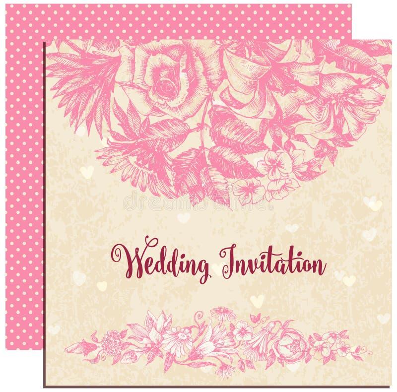 Шаблон приглашения свадьбы иллюстрация вектора
