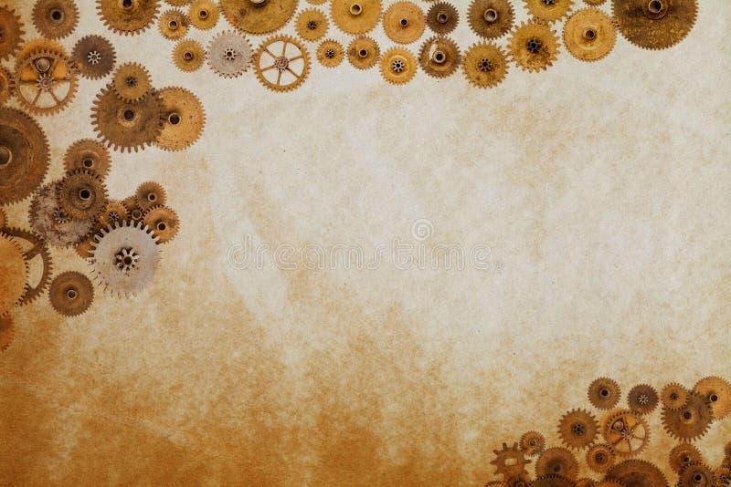 Шаблон промышленного машинного оборудования, cogs зацепляет на постаретой текстурированной бумажной рукописи Лист орнамента Steam стоковые изображения rf