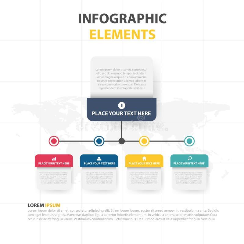 Шаблон процесса временной последовательности по Infographic дела, красочное desgin текстового поля знамени для представления, пре бесплатная иллюстрация