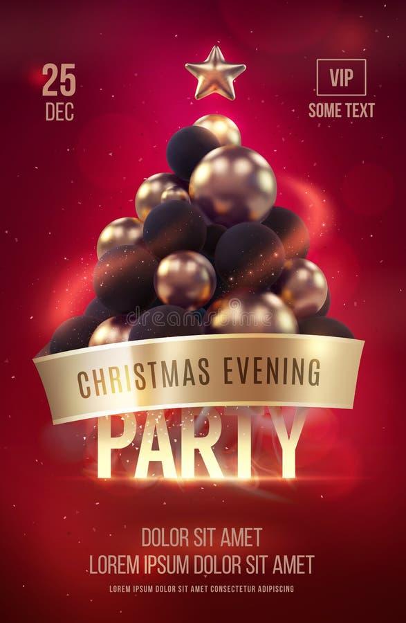Шаблон плаката или рогульки рождества с золотой рождественской елкой стоковое изображение rf