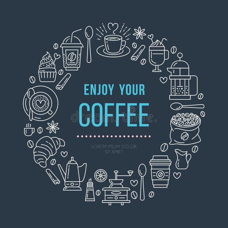 Шаблон плаката кофейни Линия иллюстрация вектора coffeemaking оборудования Элементы - чашка эспрессо, пресса француза бесплатная иллюстрация