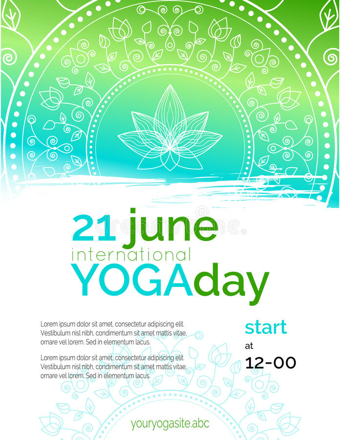 Шаблон плаката на международный день йоги иллюстрация штока