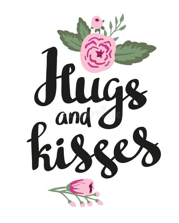 Шаблон плаката - объятия и поцелуи Свадьба, замужество, сохраняет дату, день валентинки Стильное простое флористическое desig иллюстрация штока
