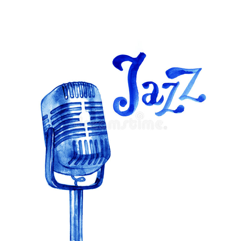 Шаблон плаката логотипа джазовой музыки Абстрактная предпосылка акварели для карточки, рогульки, листовки, брошюры, знамени, веб- стоковые фото