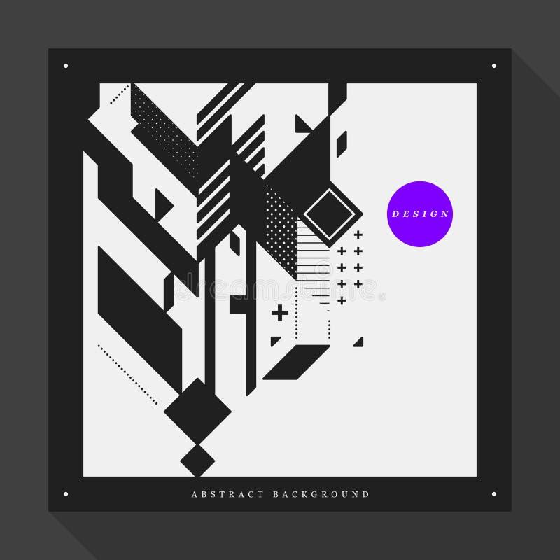 Шаблон плаката с абстрактными элементами на квадратном формате иллюстрация вектора