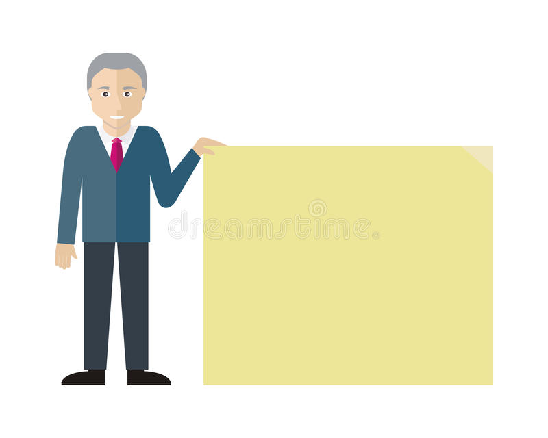 Шаблон плаката с вектором пустого бумажного листа плоским иллюстрация штока