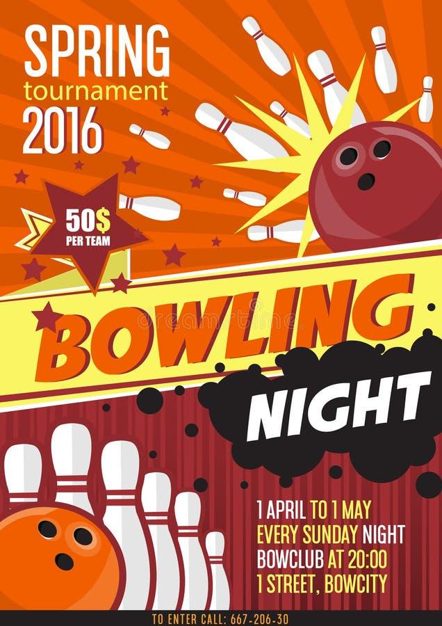 Шаблон плаката турнира боулинга Дизайн с шариком и штырями боулинга бесплатная иллюстрация