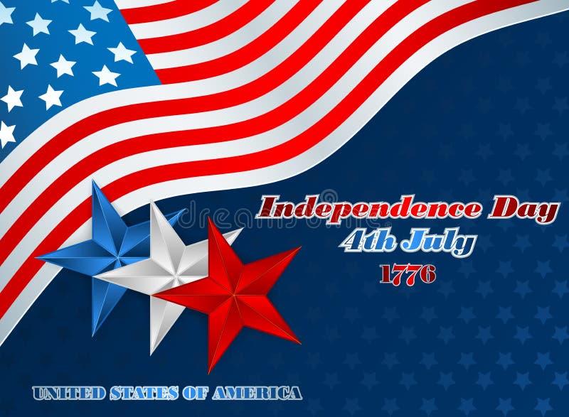 Шаблон плана праздников с голубыми, белыми и красными звездами на четвертое -го июль, американский День независимости бесплатная иллюстрация