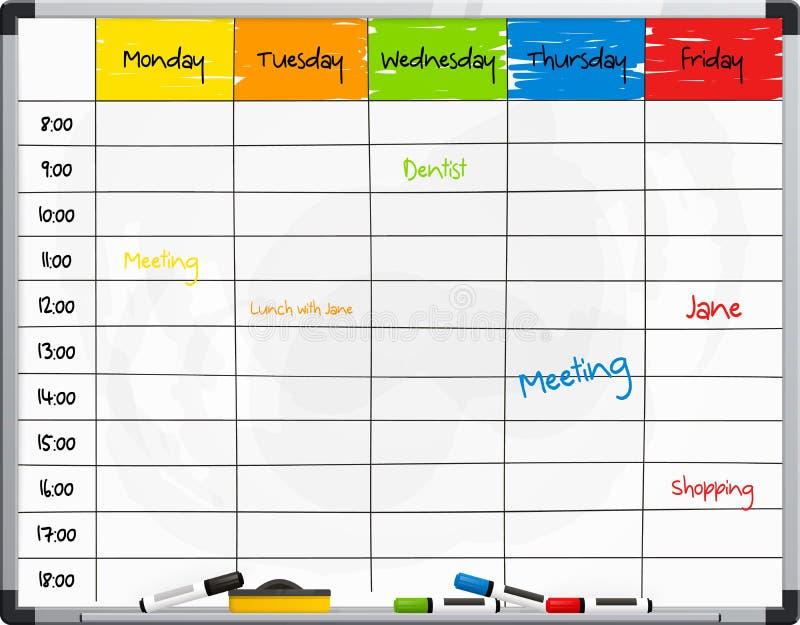 Шаблон плановика на whiteboard с ручками отметки цвета вектор иллюстрация штока