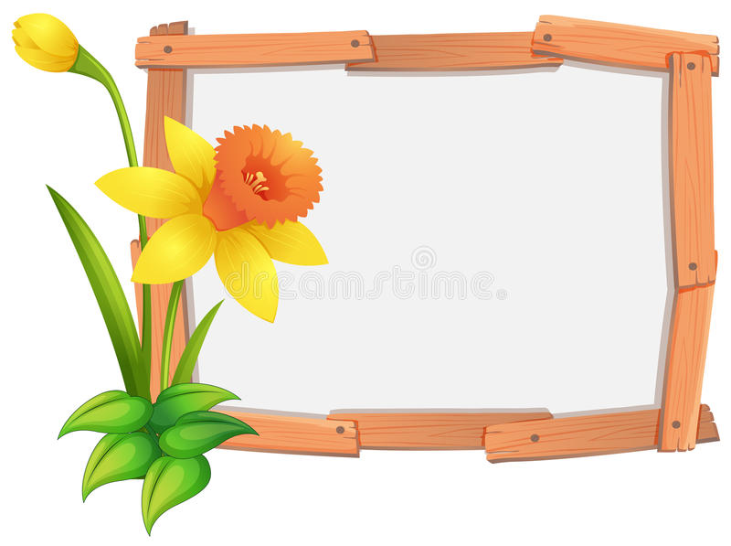 Шаблон рамки с желтыми цветками daffodil иллюстрация вектора