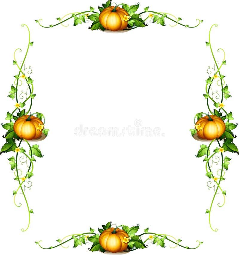 Шаблон рамки с заводами тыквы бесплатная иллюстрация