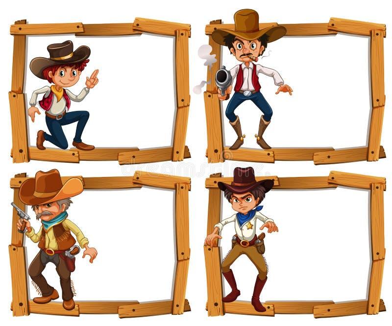 Шаблон рамки с ковбоями бесплатная иллюстрация