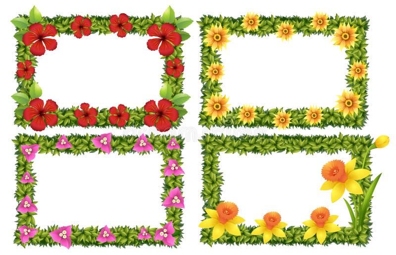 Шаблон рамки с красочными цветками иллюстрация штока