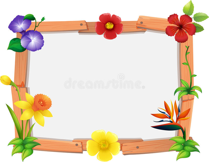 Шаблон рамки с много цветков иллюстрация вектора