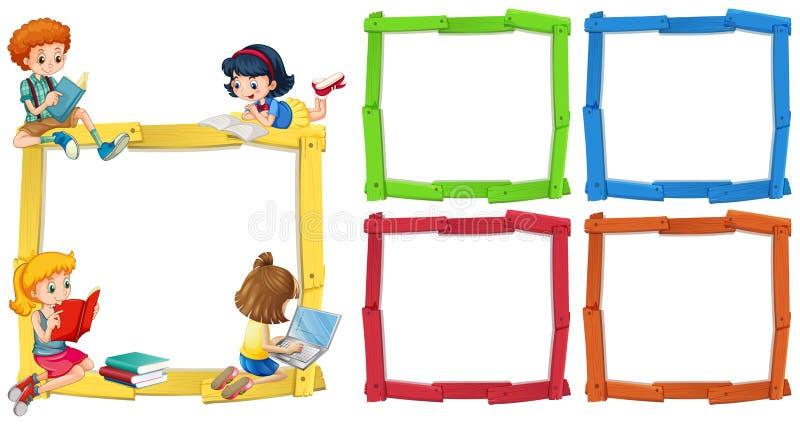 Шаблон рамки с happpy книгами чтения детей иллюстрация штока