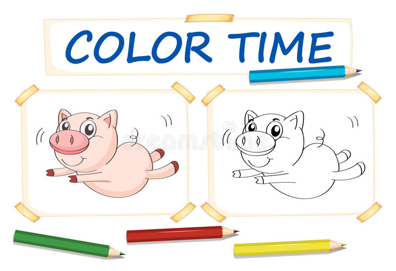 Шаблон расцветки с милой свиньей иллюстрация штока
