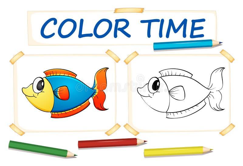 Шаблон расцветки с рыбами иллюстрация штока