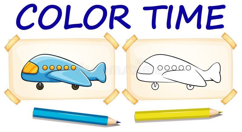 Шаблон расцветки с самолетом бесплатная иллюстрация
